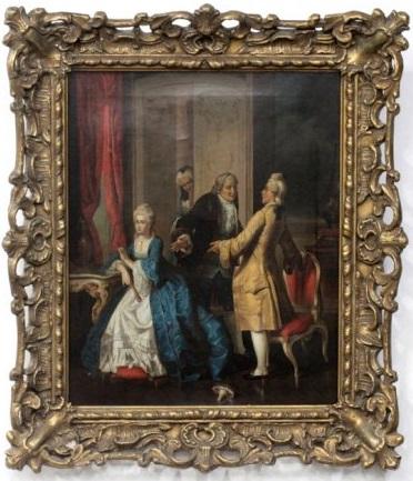 Картина с жанровой сценой. Франция. Конец XVIII в.