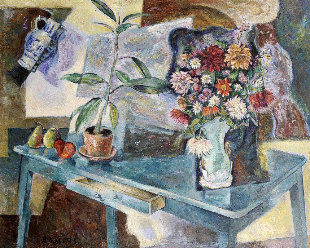 В. Баранов-Россине. Натюрморт с цветами и фруктами. 1915 г.