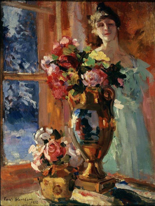 К. Коровин. Натюрморт с портретом В.В. Перцовой. 1916 г.