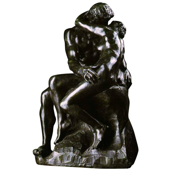 Скандально известная скульптура О. Родена «Поцелуй». XIX век
