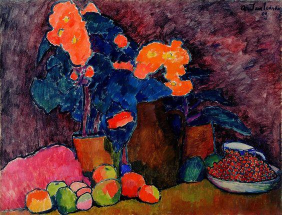 А. Явленский. «Цветы, фрукты и кувшин». 1909 г.